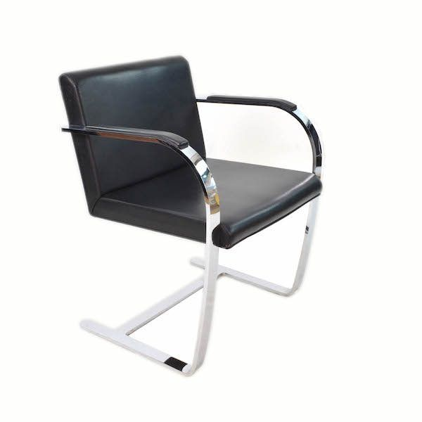 Four Black Leather Chrome Plated Steel Chairs Brno Knoll Style