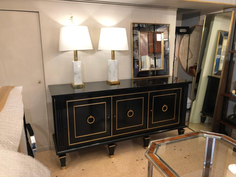 Credenza Art Deco in legno nero ebanizzato e dettagli in bronzo ...