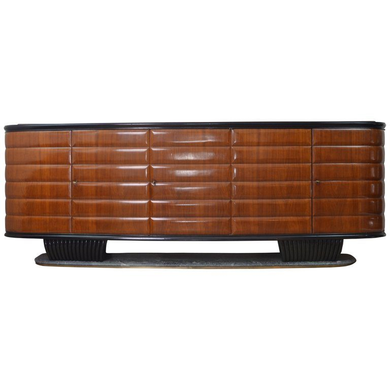 Vittorio Dassi Modern Italian Wood and Green Marble Credenza for ...