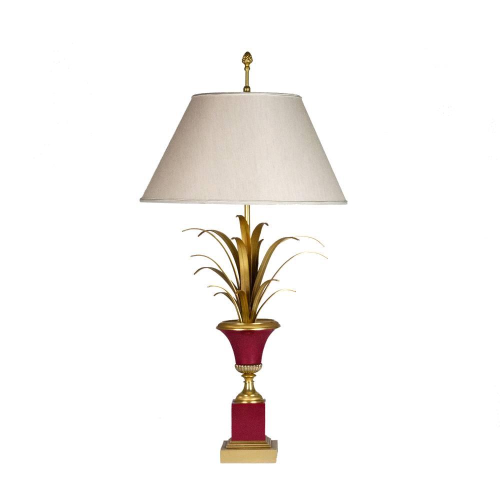Lampada Decorativa Da Tavolo In Metallo Dorato E Color Vermiglio