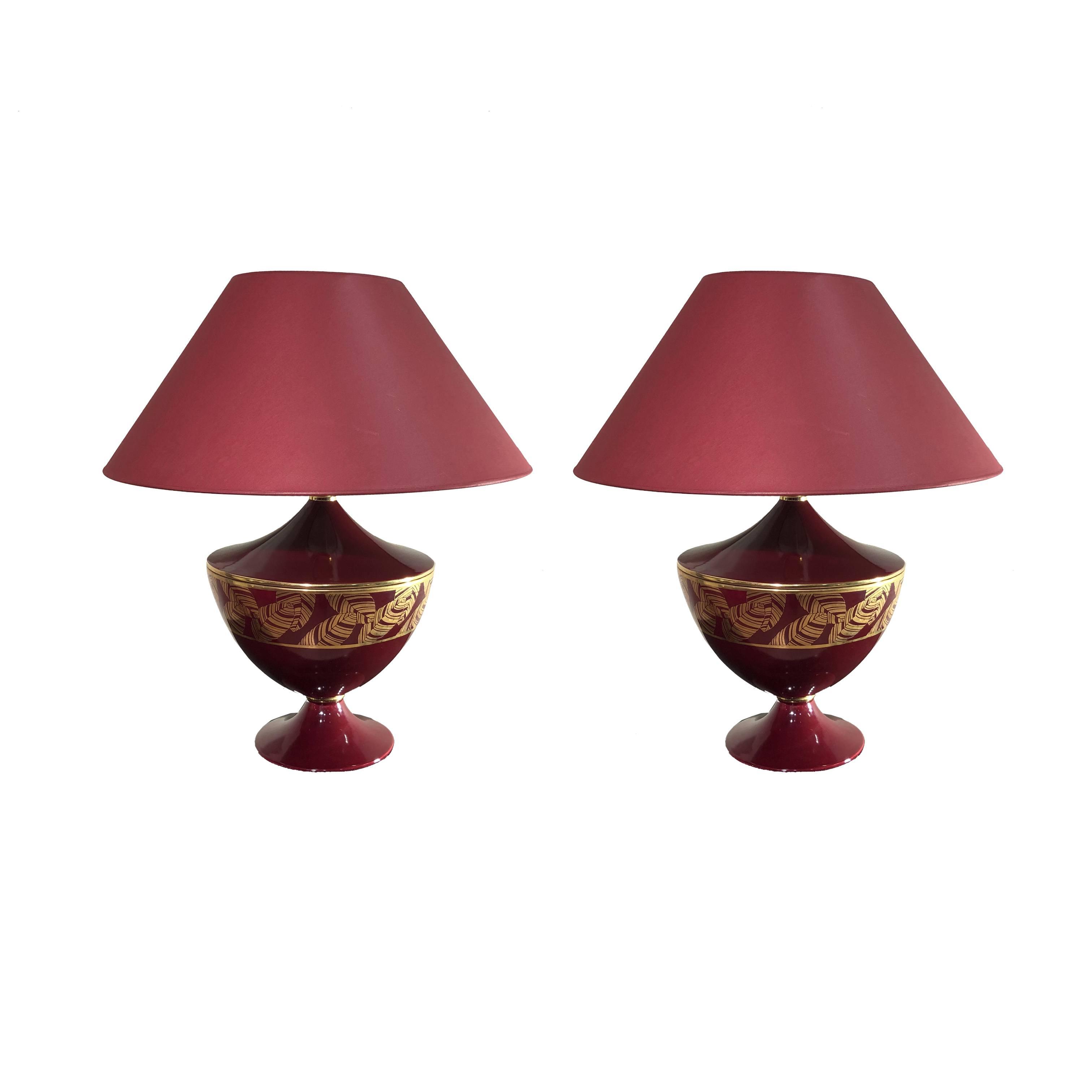 Lampade Da Tavolo In Ceramica Rosso Vermiglio E Decorazioni Oro Anni 80 Pescetta