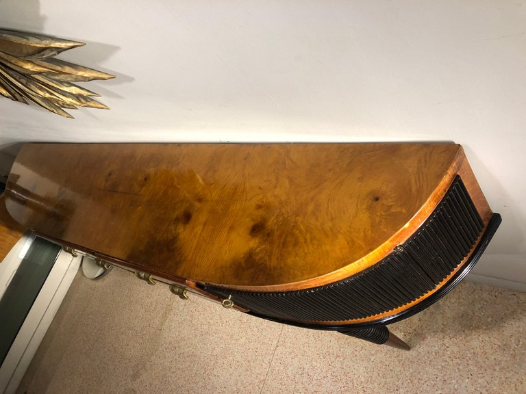 La Credenza On The Road : Italian art deco brass details table rosewood console credenza
