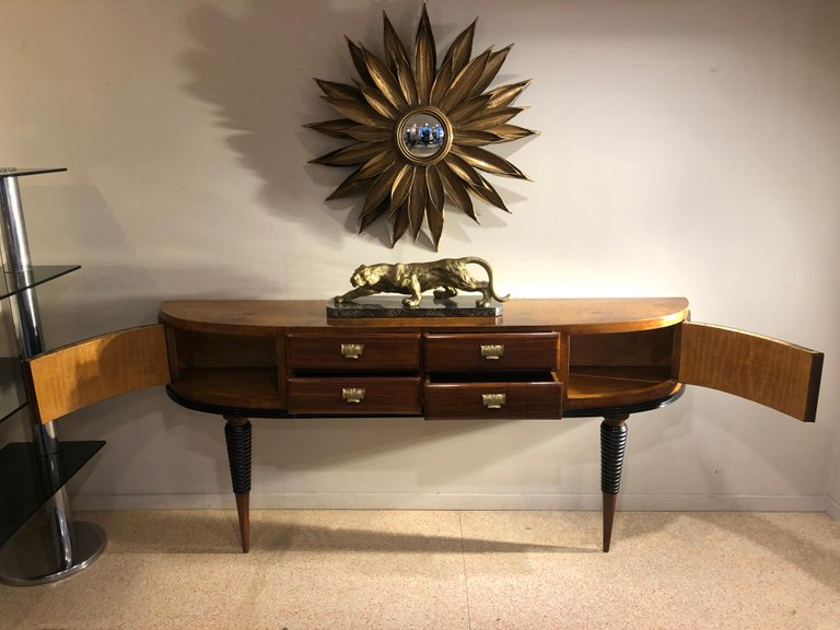 Credenza Console : Italian art deco brass details table rosewood console credenza