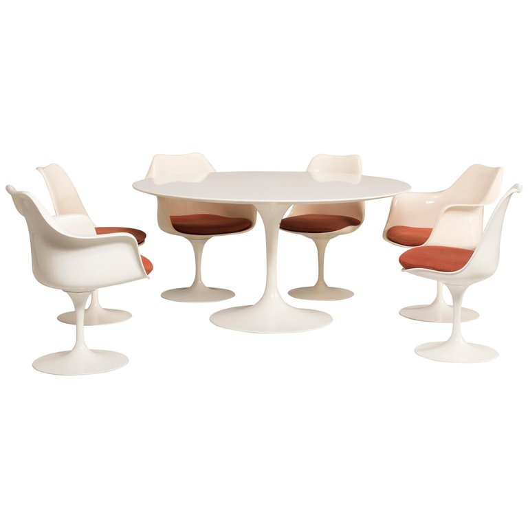 Tavolo Tulip Knoll.Eero Saarinen Knoll Production 1960s Chairs And Tulip Laminated Table