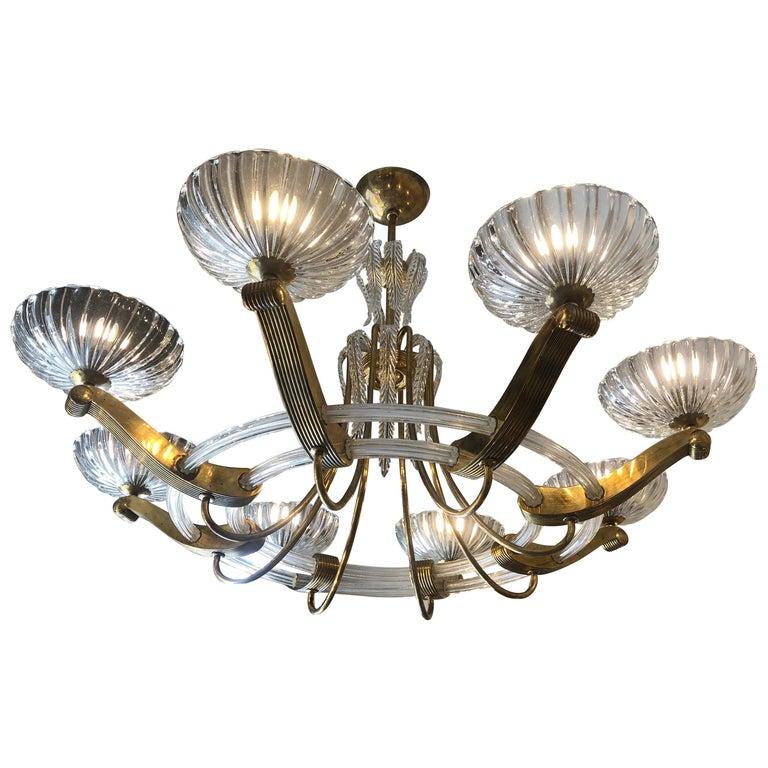 Lampadari In Vetro Soffiato.Lampadario Art Deco In Ottone E Vetro Soffiato Otto Luci Diam 120 Cm