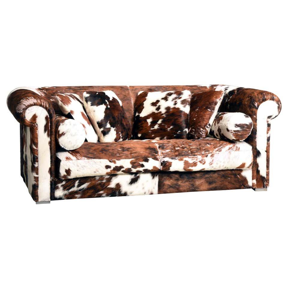 Cuscini Su Divano Marrone baxter divano in pelle di mucca marrone e bianco con cuscini, italia, anni  '90